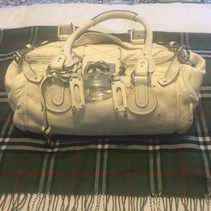 cream Colored Chloe Paddington Bag w/Lucite Lock